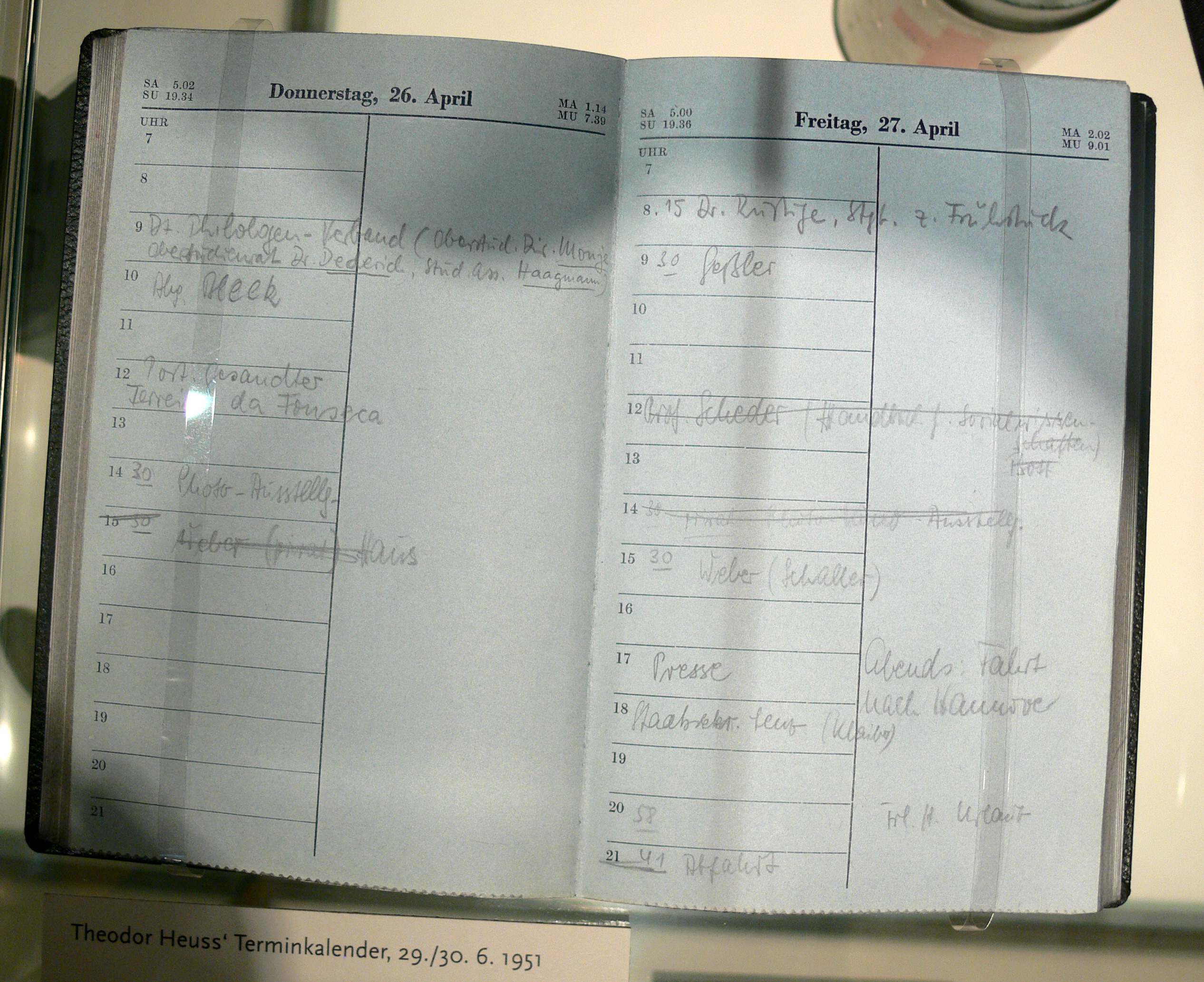 Appointment calendar of former German president Theodor Heuss
