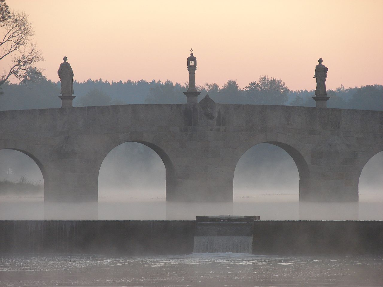 Sunrise over a bridge in northern Bavaria